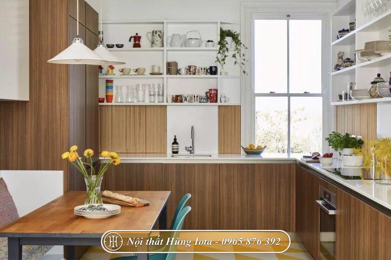 Decor bếp ăn gia đình đẹp bằng tủ bếp chữ L