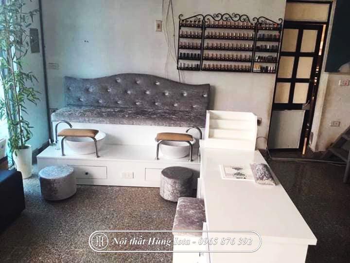 Ghế sofa làm móng giá rẻ đa năng bọc nỉ nhung cao cấp GNN10