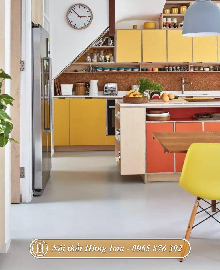 Thiết kế nội thất bếp ăn gia đình rực rỡ sắc màu