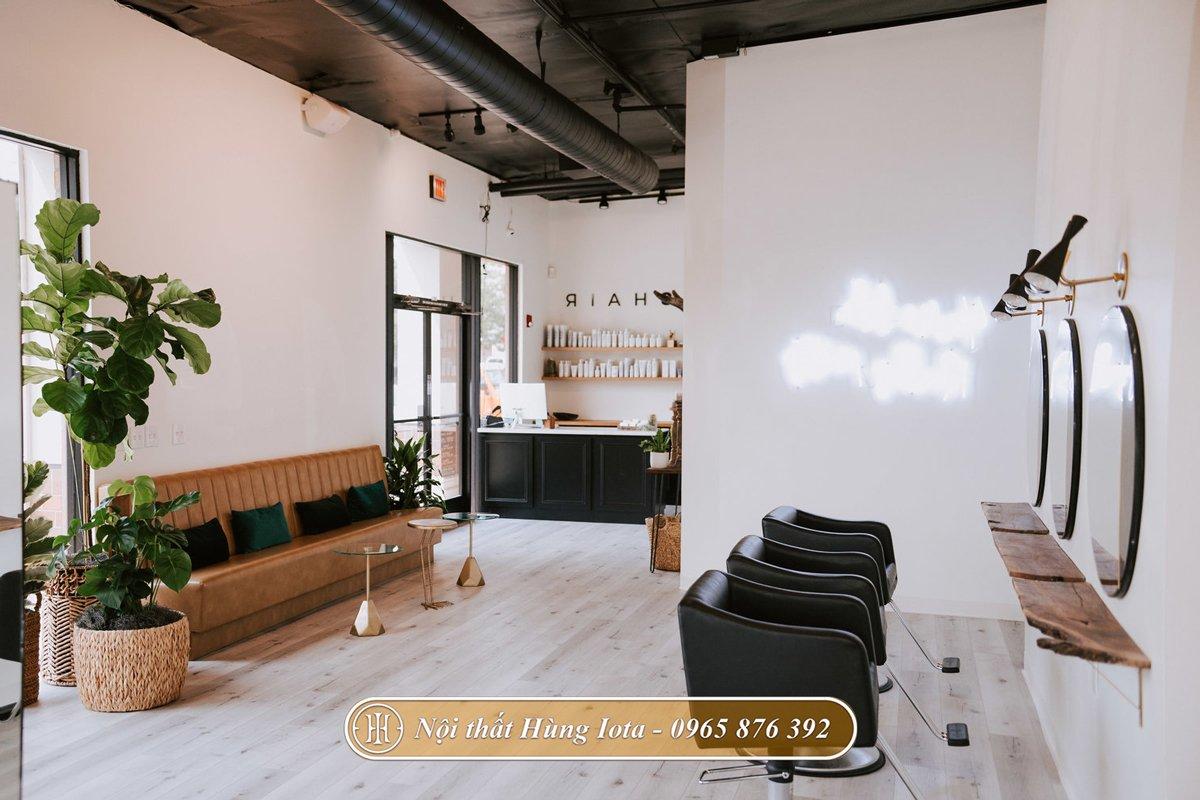 Thiết kế nội thất salon tóc tông màu nâu đen hiện đại