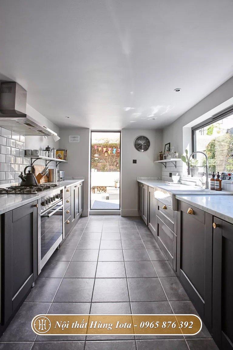 Thiết kế phòng bếp tông màu xám thanh lịch