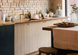 Thumb thiết kế nhà bếp độc đáo tường gạch không trát