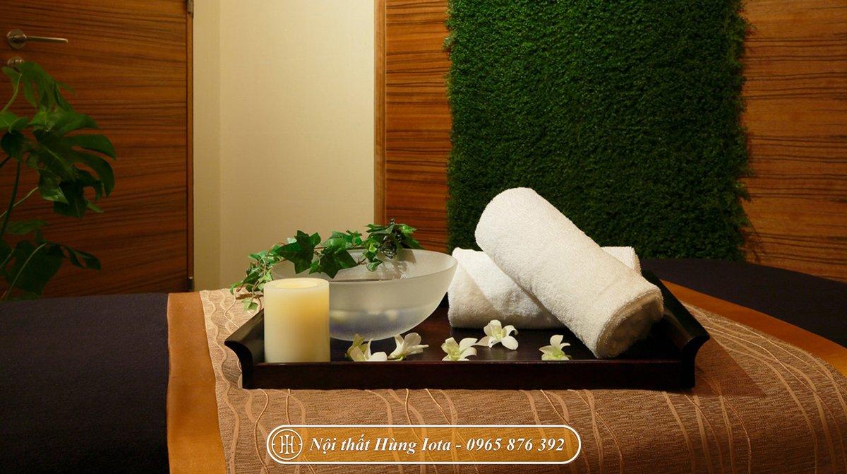 Decor spa phong cách tối giản tone màu nâu