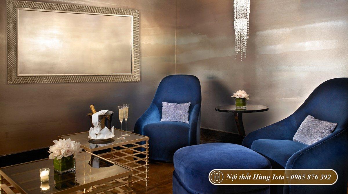 Ghế sofa bọc nỉ nhung cho spa màu xanh navy