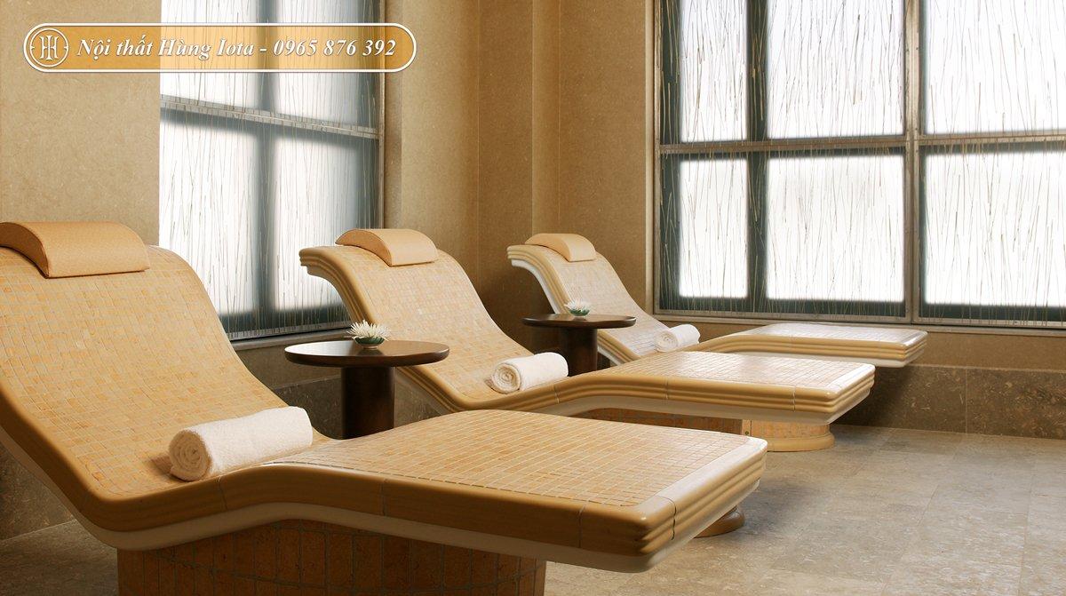 Giường massage màu be đẹp sang trọng
