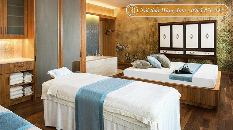 Giường massage spa bằng gỗ màu trắng hiện đại