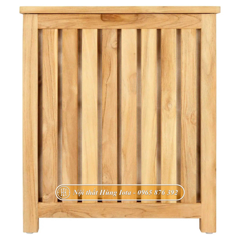 Mặt trước hộp đựng khăn gỗ