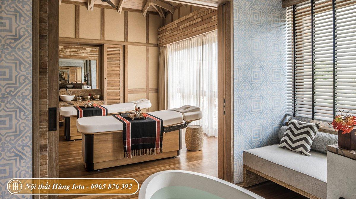 Nội thất phòng spa chất liệu gỗ tự nhiên