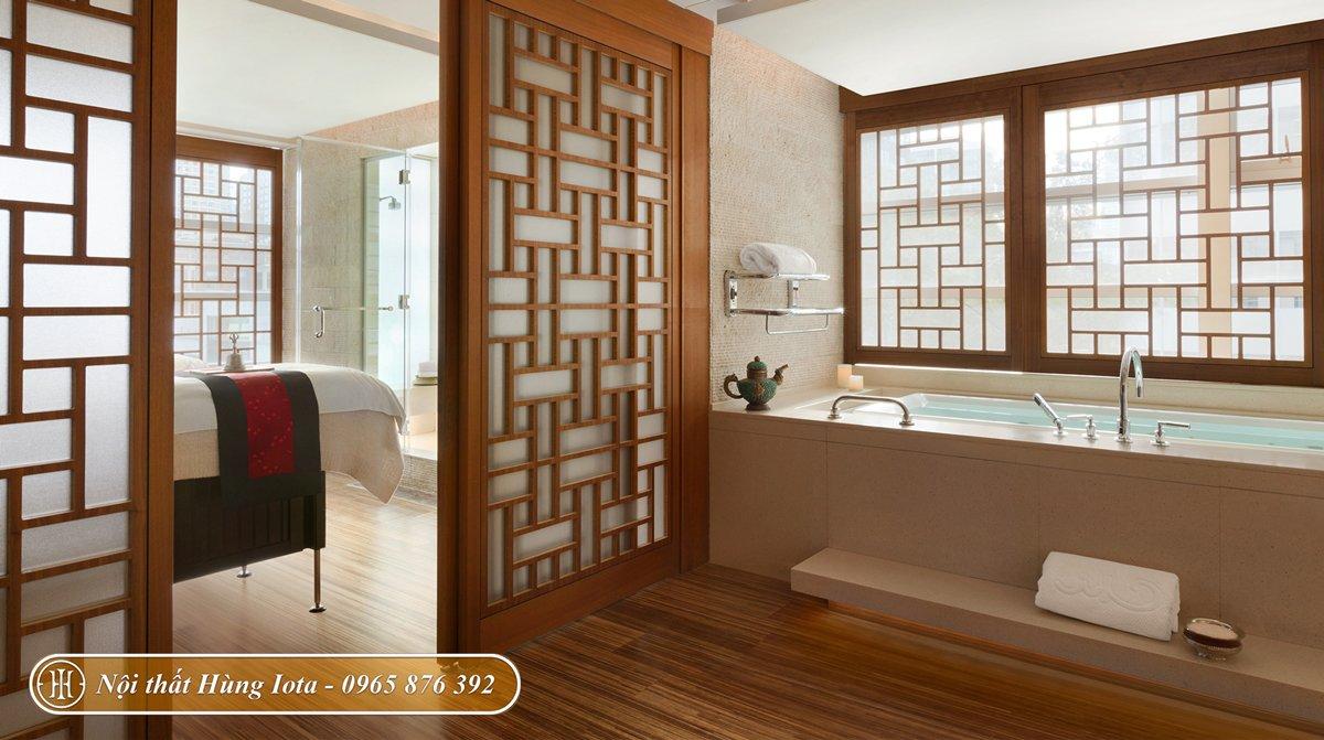 Nội thất phòng spa kiểu Nhật tông màu nâu gỗ