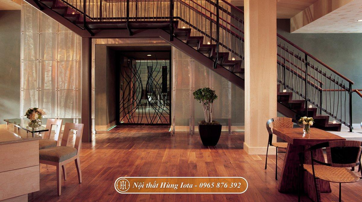 Thiết kế nội thất spa tone màu nâu gỗ phong cách vintage