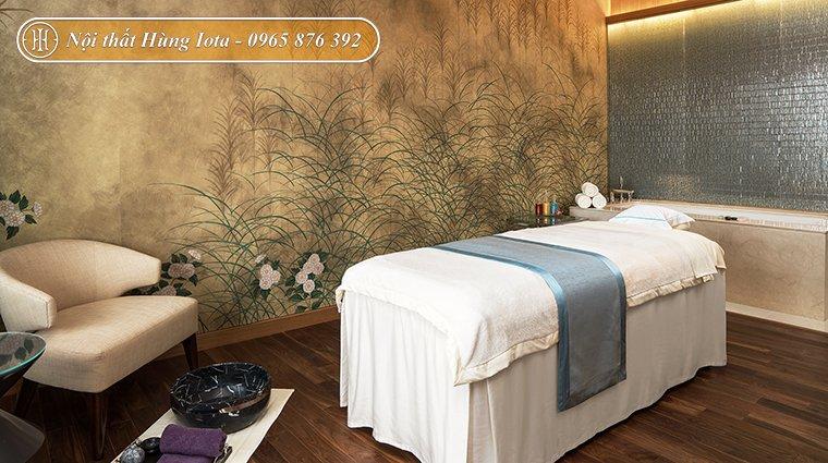 Thiết kế nội thất spa tông màu trắng và nâu gỗ tự nhiên