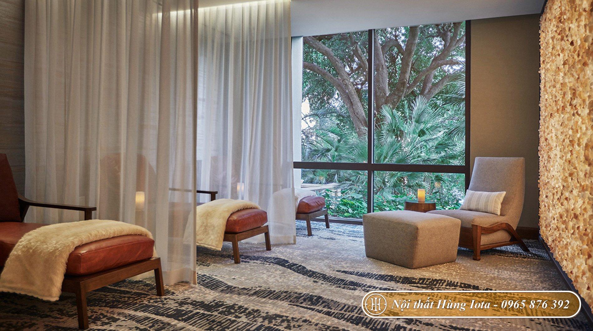 Ý tưởng decor spa với sofa kiểu dáng cổ điển