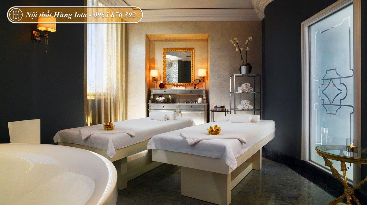 Decor spa đẹp hiện đại tone trắng vàng