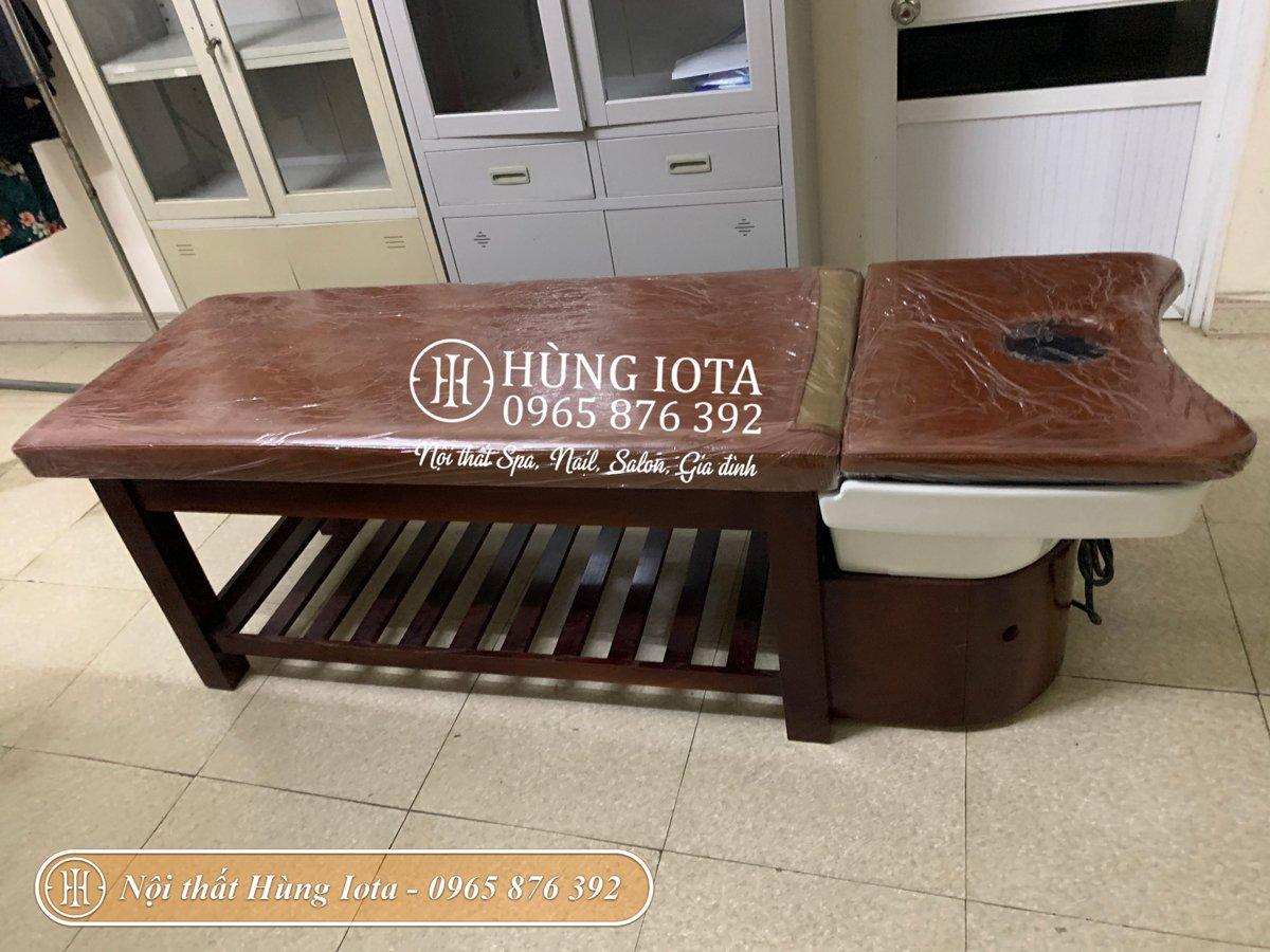 Giường gội đầu dưỡng sinh gỗ sồi cho spa tại Hưng Yên