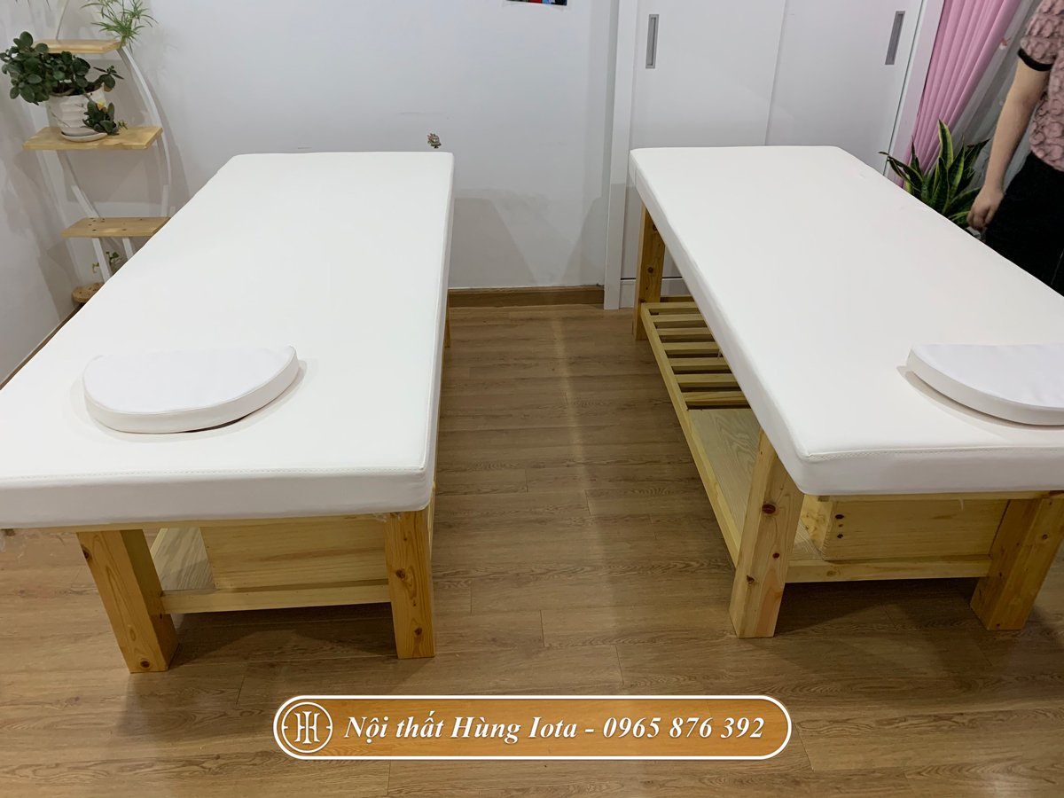 Giường spa gỗ thông đẹp giá rẻ cho spa mini tại chung cư
