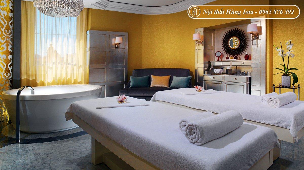Thiết kế nội thất spa mini tông trắng vàng