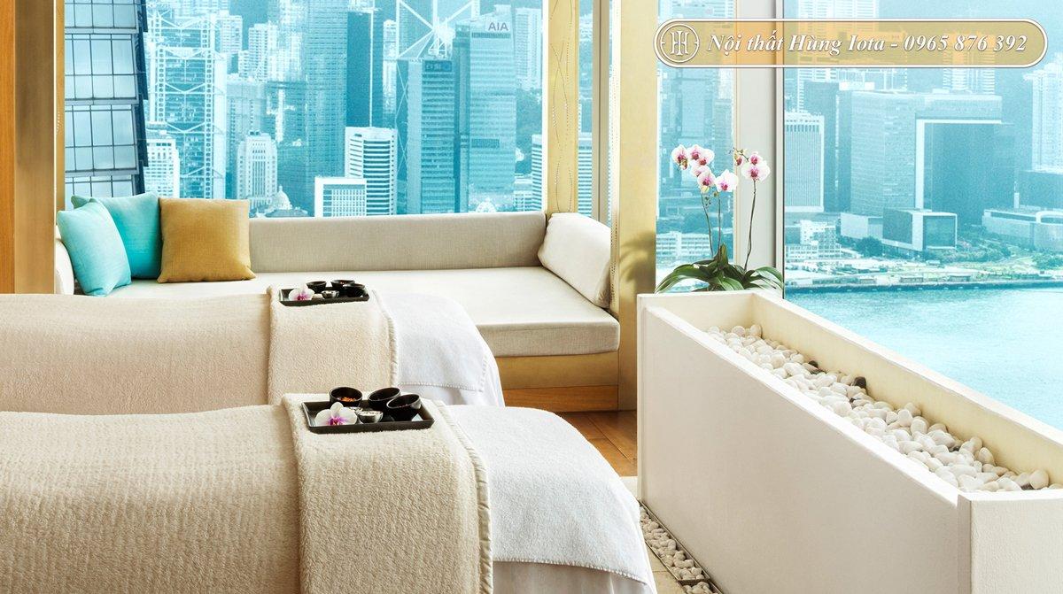 Thiết kế spa hiện đại tone màu trắng