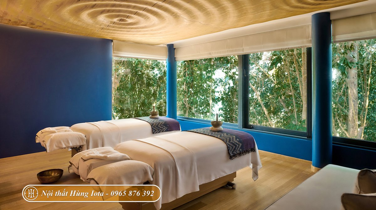 Trang trí phòng spa đẹp hiện đại tone màu xanh dương cá tính