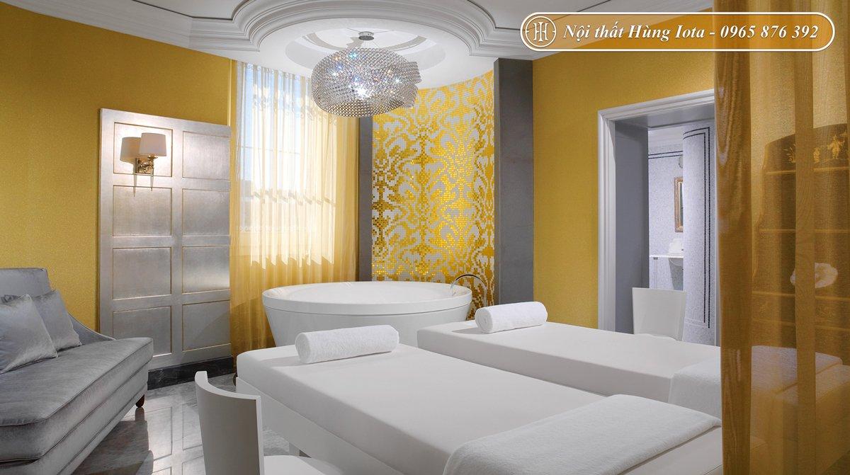 Trang trí phòng spa tone vàng trắng đẹp ấn tượng