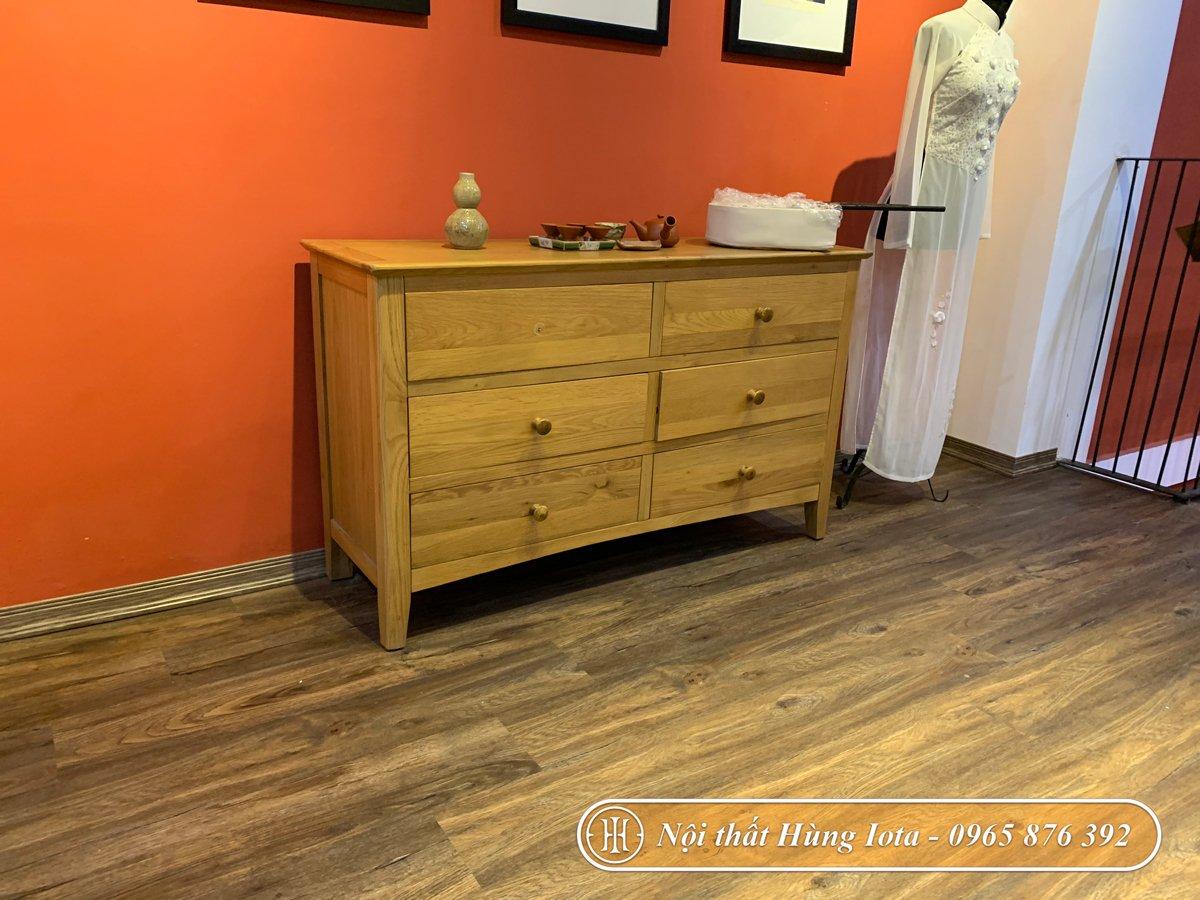 Tủ đựng đồ 6 ngăn kéo màu gỗ tự nhiên cho spa