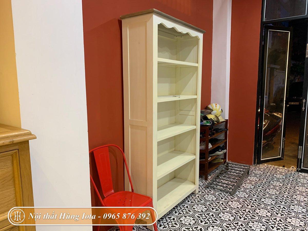 Tủ gỗ đựng đồ 5 tầng màu trắng cho spa