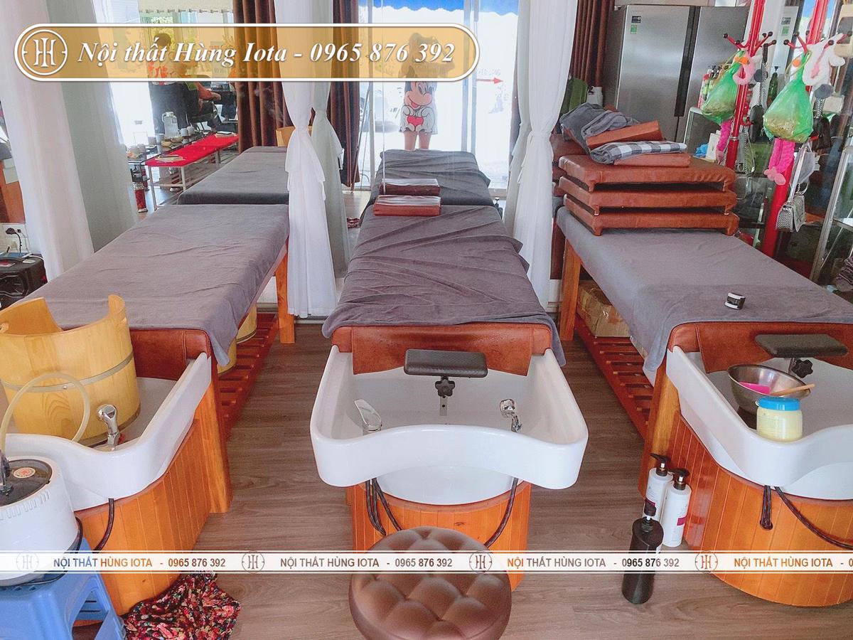 Giường gội đầu dưỡng sinh bồn sứ ở Ba Đình