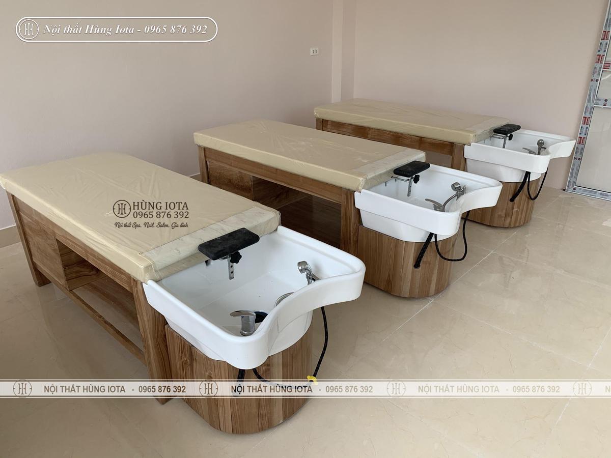 Giường gội đầu gỗ sồi cho salon tóc tại Ba Đình