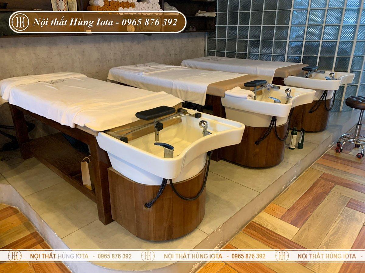 Giường gội đầu massage sap gỗ sồi tại Thanh Xuân