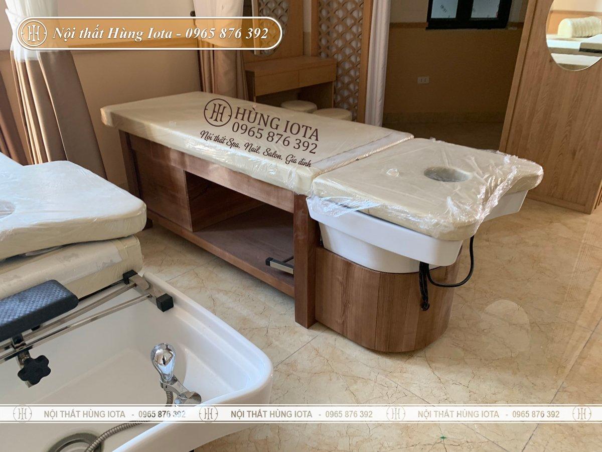 Giường gội massage 2 trong 1 gỗ sồi cao cấp cho spa đông y