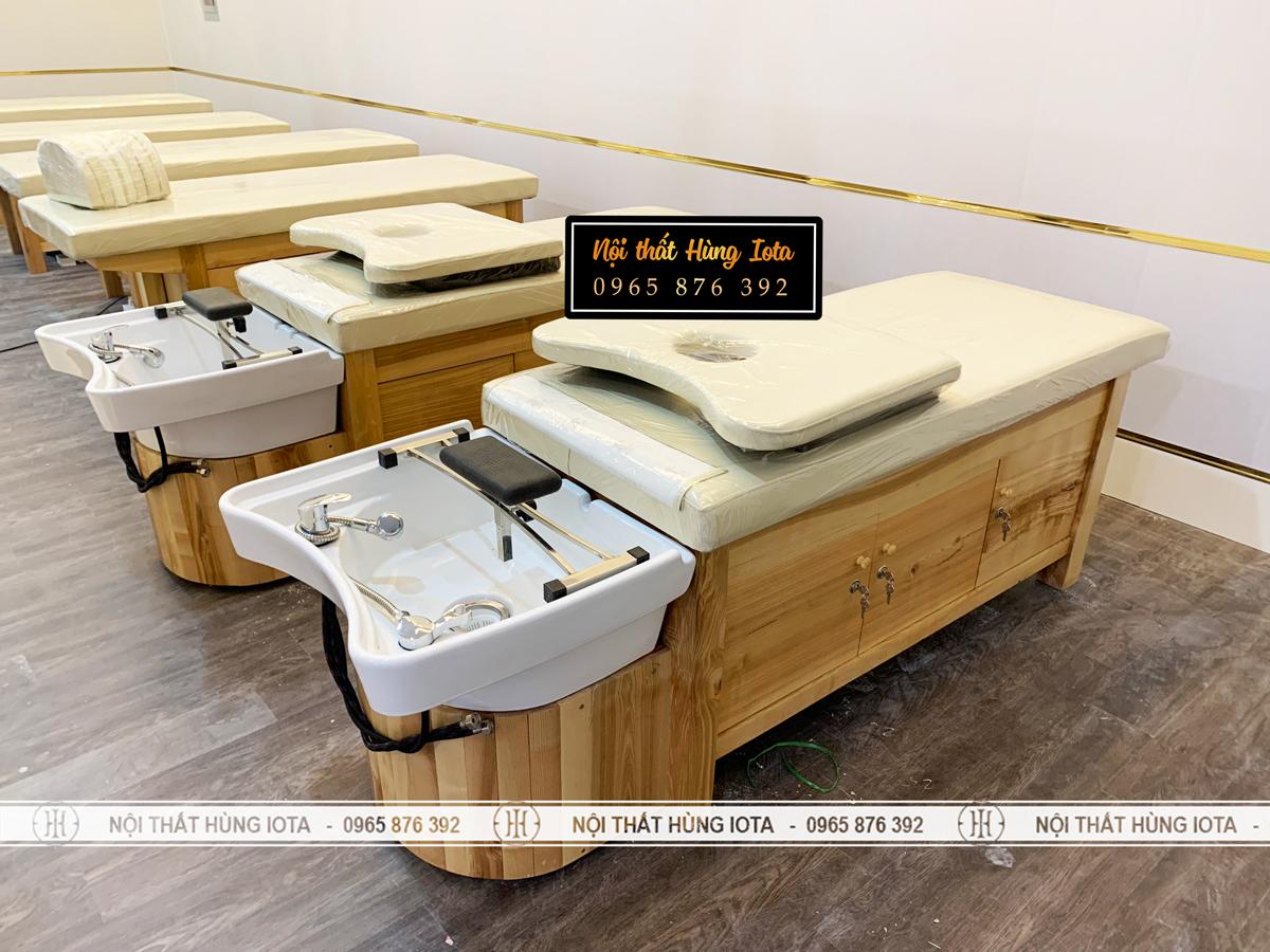 Giường gội spa 2 in 1 kín tủ bên dưới bồn sứ