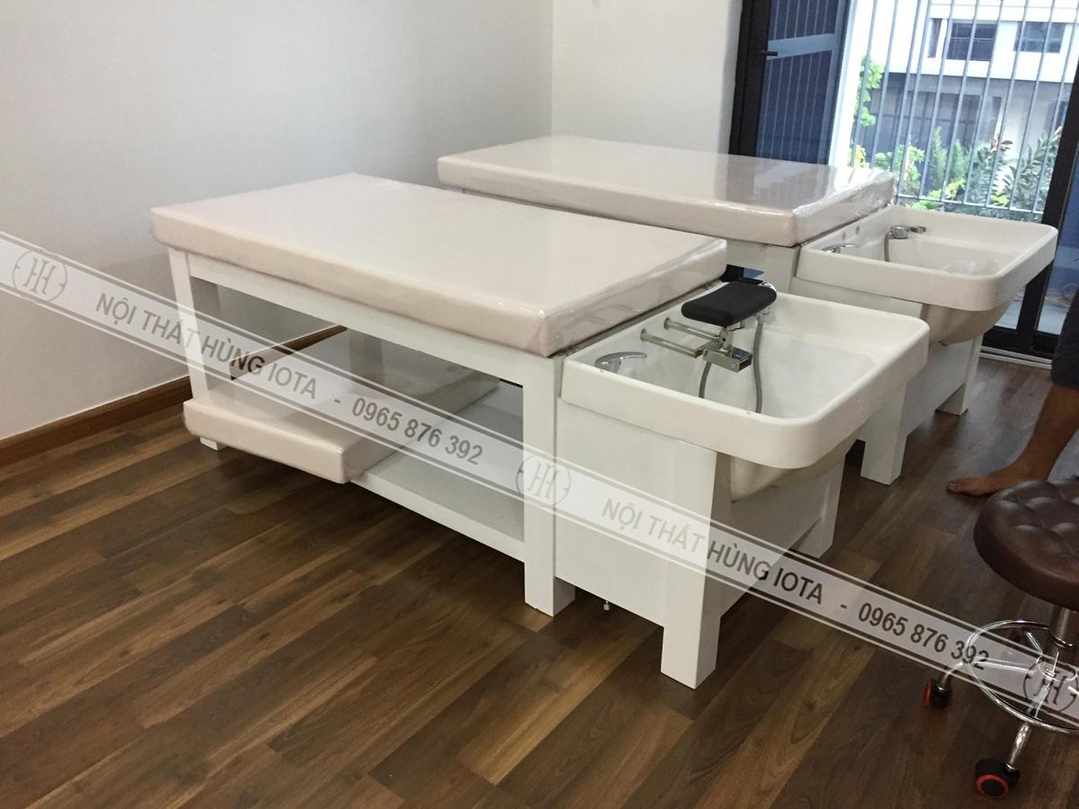 Giường gội spa 2in1 màu trắng hiện đại ở Ba Đình