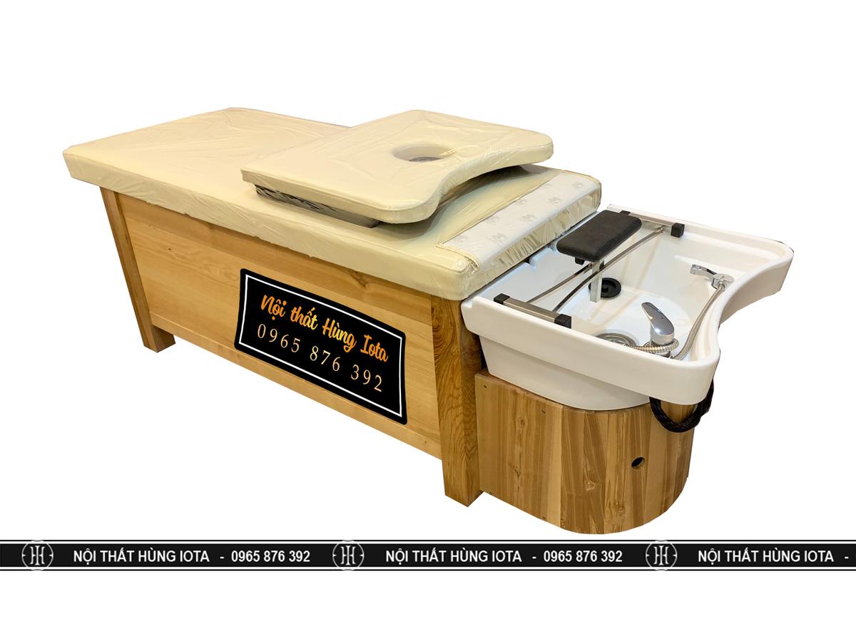 Giường gội spa bồn sứ kín ủ bên dưới màu gỗ giá rẻ