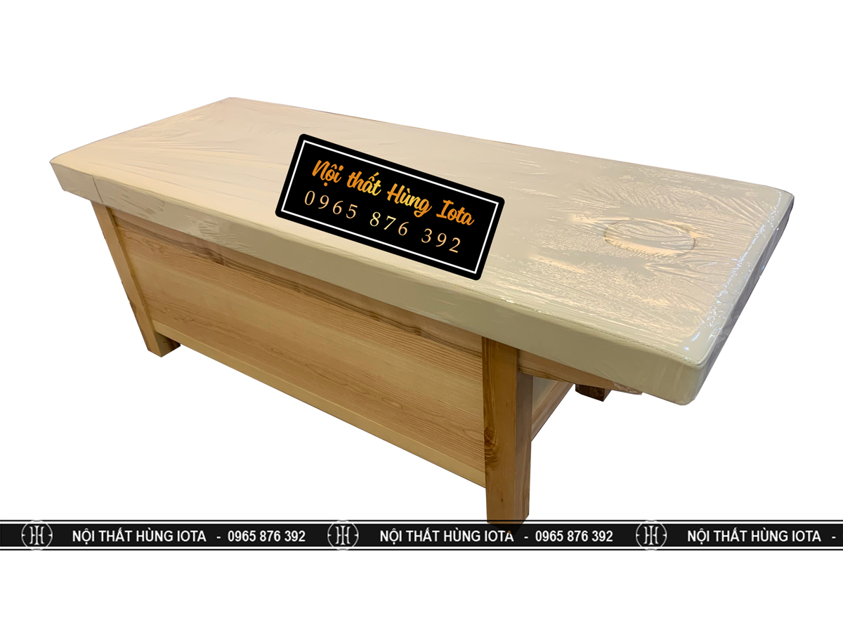 Giường massage body kín tủ màu vàng gỗ đẹp