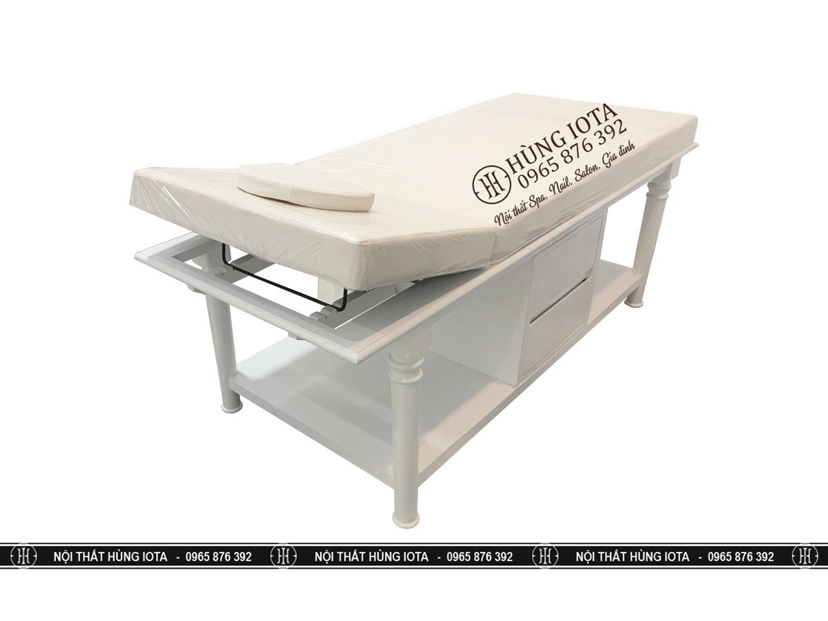 Giường massage tân cổ điển màu trắng ngăn kéo trượt