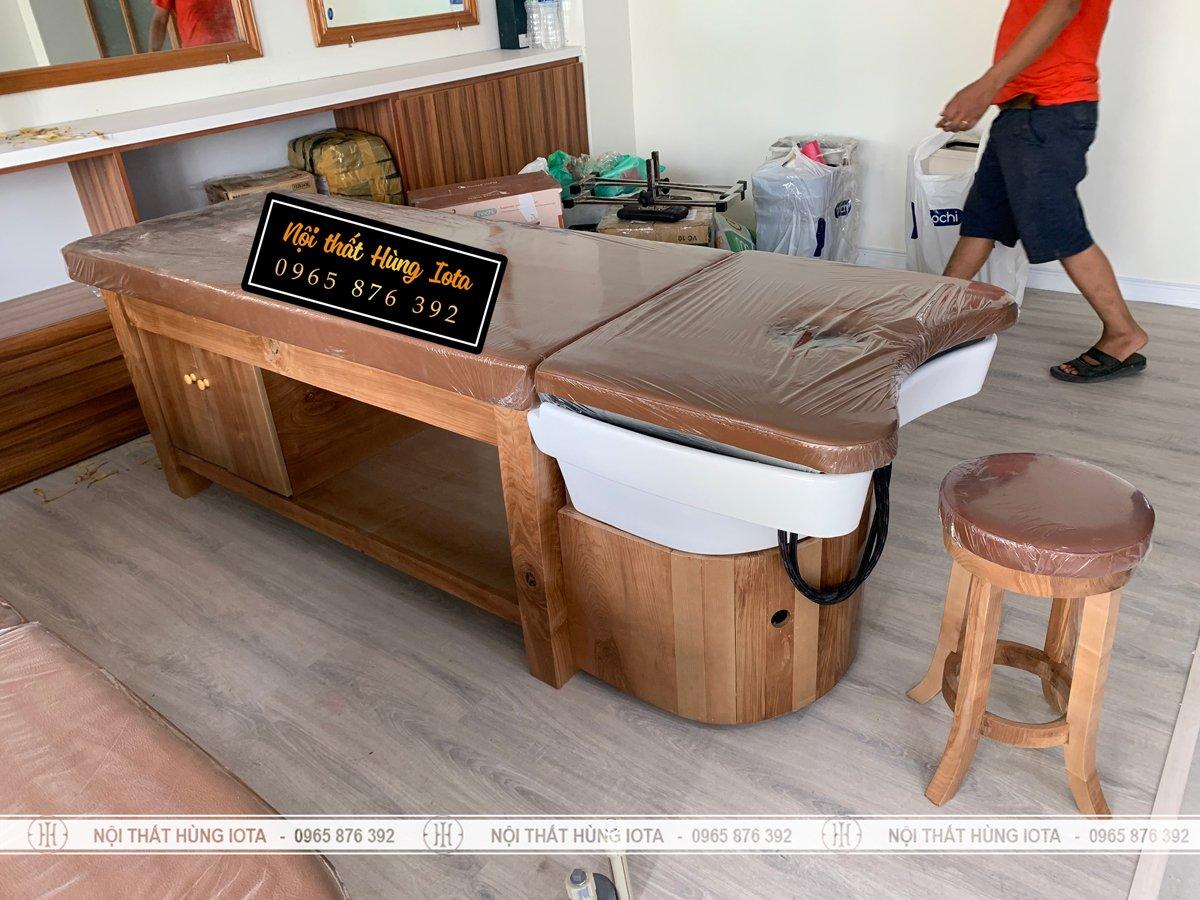 Lắp đặt giường gội đầu dưỡng sinh gỗ sồi cao cấp