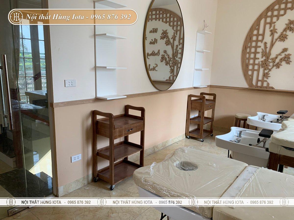 Thiết kế nội thất phòng spa dưỡng sinh đông y tone màu gỗ