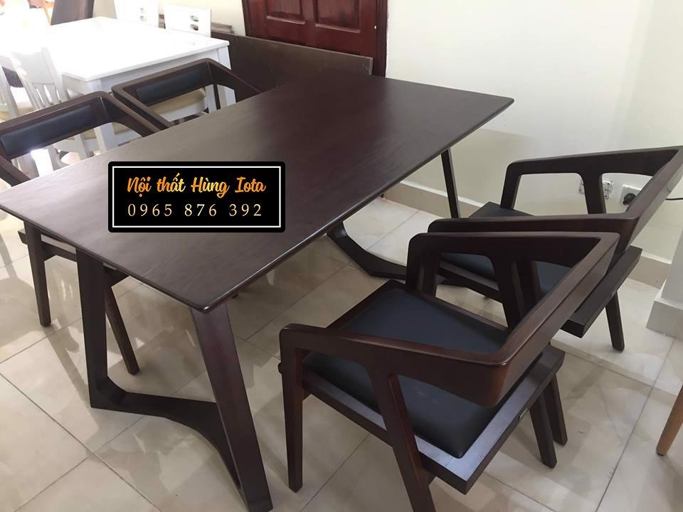 Bàn ăn gia đình 4 ghế katana màu nâu đen