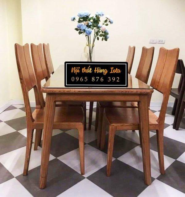 Bàn ăn gia đình mặt kính 6 ghế gỗ sồi cao cấp