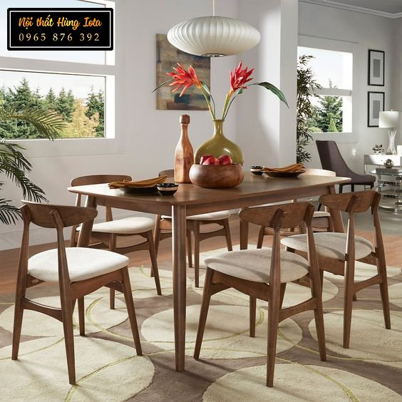 Bộ bàn ăn gia đình 6 ghế mặt trăng hiện đại