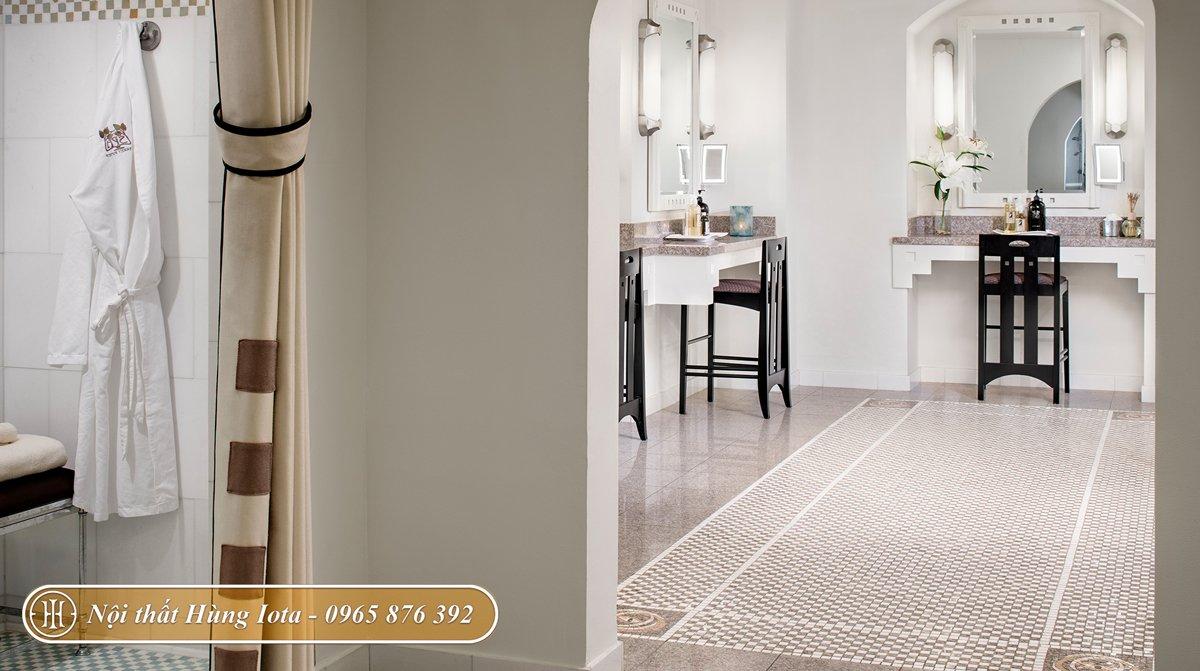 Nội thất spa kiểu dáng tối giản tông màu trắng và đen