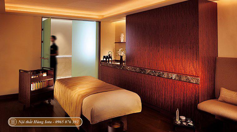 Setup phòng massage spa tone nâu be phong cách Nhật Bản