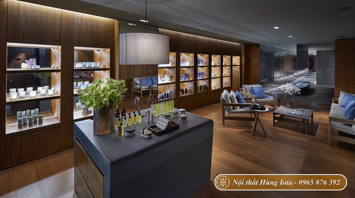 Thiết kế nội thất phòng chờ spa bằng chất liệu gỗ và đá