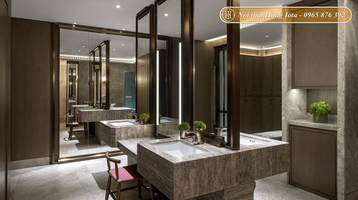 Thiết kế nội thất phòng spa tông màu gỗ óc chó nhã nhặn