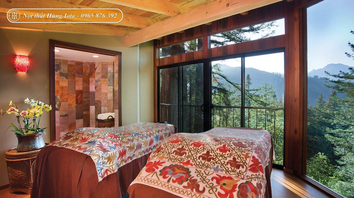 Thiết kế nội thất spa phong cách rustic tone nâu đỏ