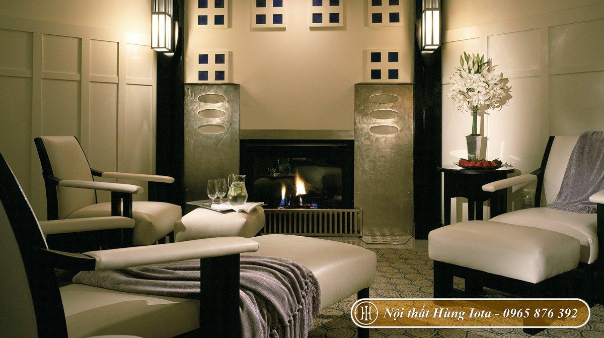 Thiết kế nội thất spa phong cách tối giản tone đen trắng