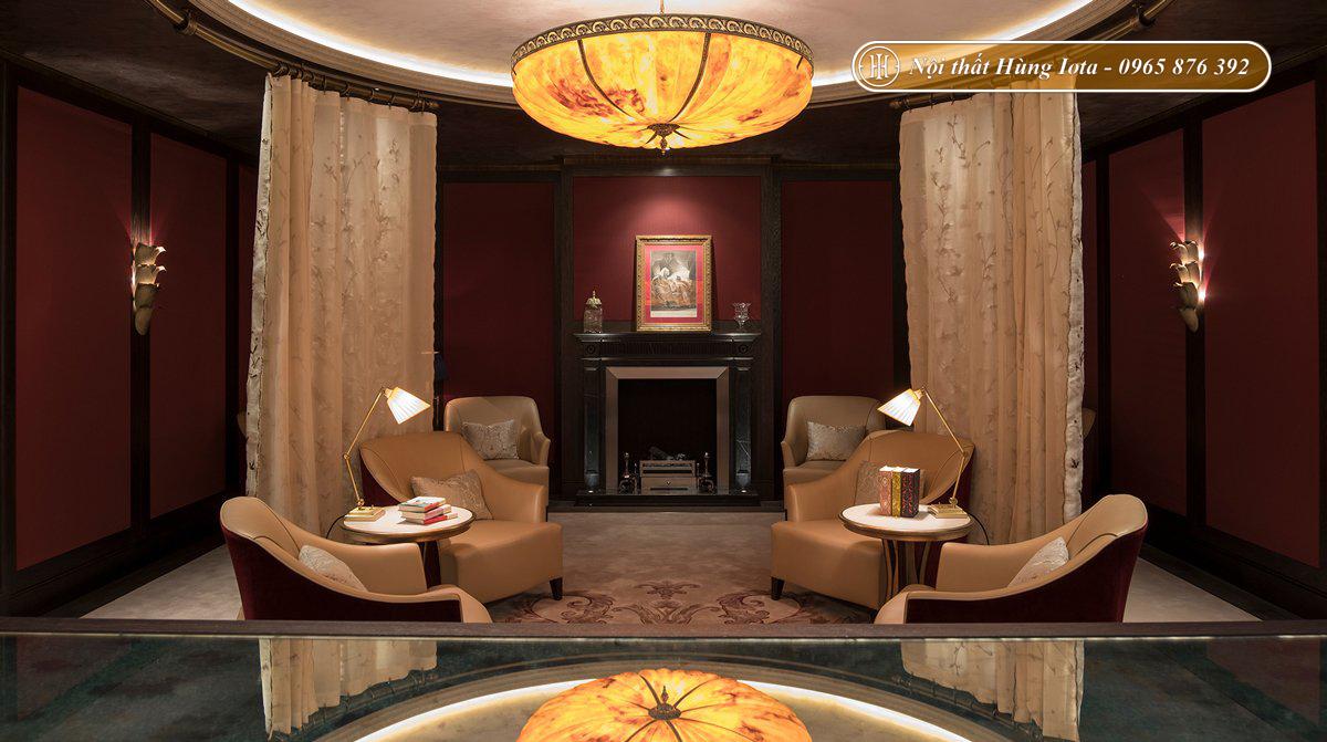 Thiết kế nội thất spa tone be đỏ trầm cổ điển sang trọng