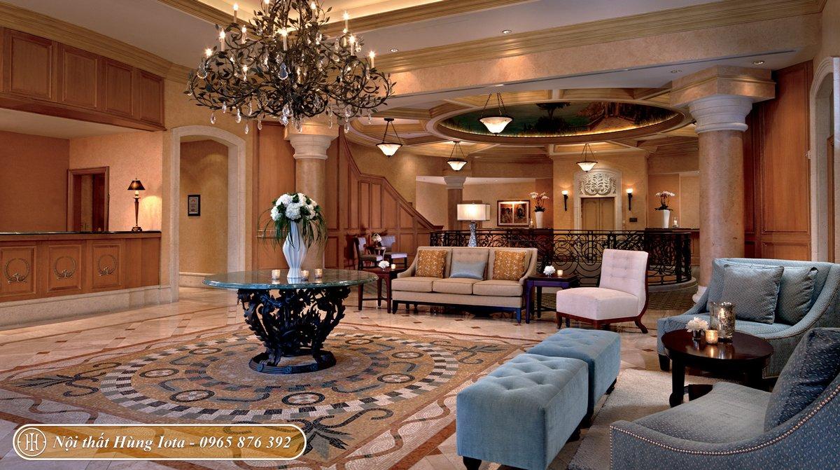 Thiết kế nội thất spa tone nâu be xanh phong cách châu Âu