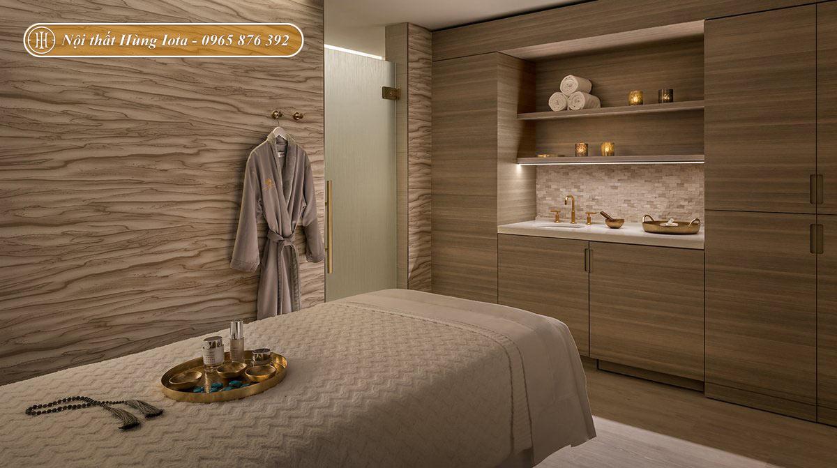 Thiết kế phòng massage spa cao cấp tone màu nâu