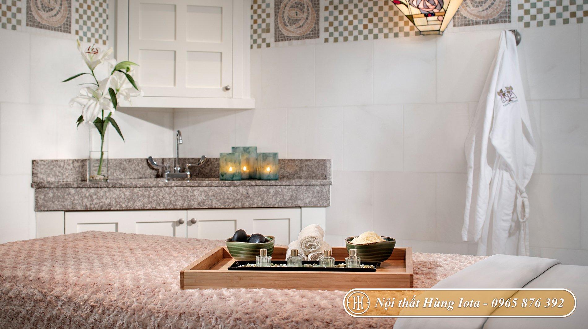 Thiết kế phòng massage spa tông màu trắng tinh tế