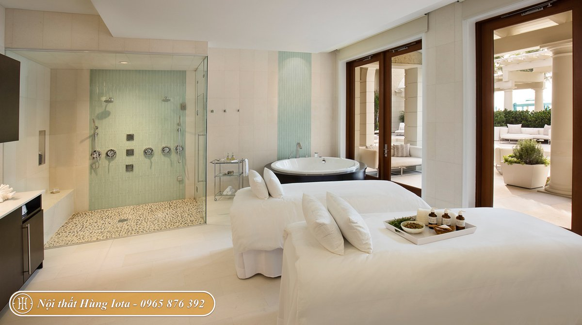 Thiết kế phòng spa và nail salon 2 in 1 tông màu trắng